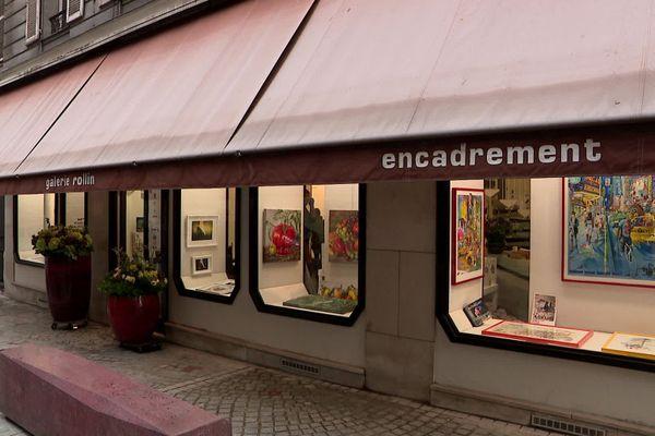 La devanture de la galerie Rollin rue Ecuyère à Rouen en octobre 2020
