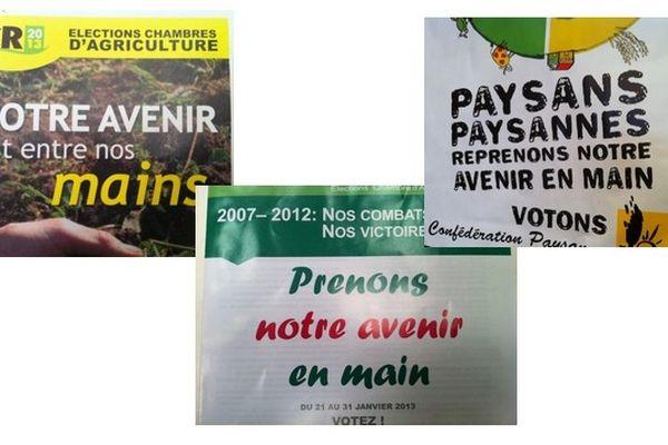 FDSEA, Coordination rurale et Confédération paysanne : 3 listes mais sur leurs affiches le même slogan (ou presque) à base d'avenir et de mains.