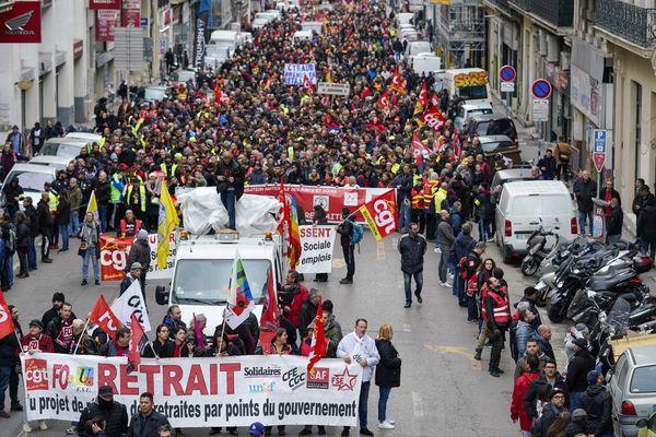 Manifestation contre la réforme des retraites, le 24 janvier 2020.