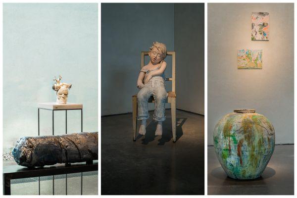 """De g. à dr. : Haguiko, """"Horizon"""", 1997-2020 (au 1er plan) et Nicolas Rousseau, """"Vanité"""", 2020 (au 2d plan) ; Patricia Calas Dufour, """"En rêve"""", 2015 ; Claude Varlan, """"Sans titre"""", 2010."""