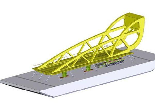 Schéma du nouveau pont Sadi Carnot de Sète chargé sur sa barge de transport