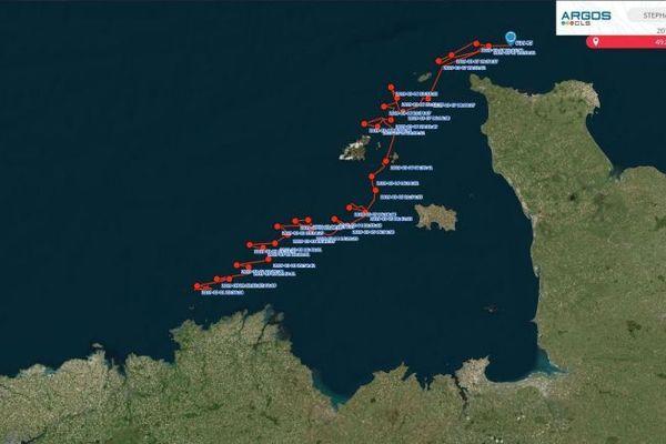Le parcours de la balise depuis qu'elle s'est décrochée du requin-taupe le 1er mars 2019.