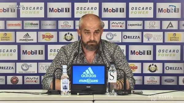 Mathieu Chabert, entraîneur du Sporting Club de Bastia, en conférence de presse, le 19 mai dernier