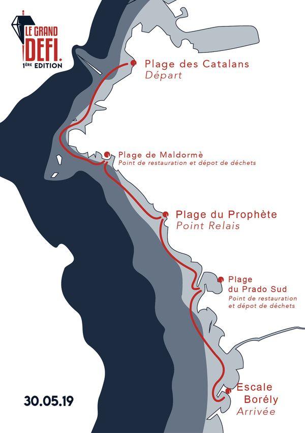 Le parcours du Grand Défi de ramassage des déchets en Méditerranée.