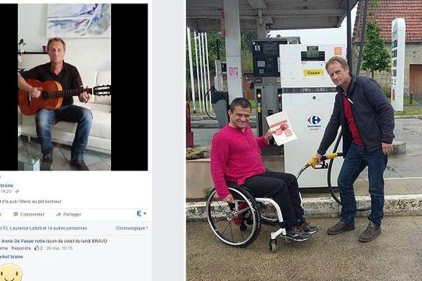Le gérant dans sa vidéo-buzz (à gauche) qu'il a transformé en oeuvre caritative pour David Avram (avec lui à droite).