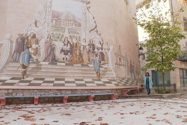 La fresque de Belgencier commémore le passage de Louis XIV avec sa mère Anne d'Autriche dans le village le 19 février 1660