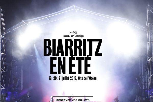 Capture écran du site du Festival Biarritz en été.