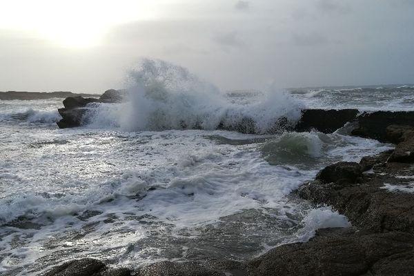 Mer agitée à Ploemeur (Morbihan) - 10/12/2017