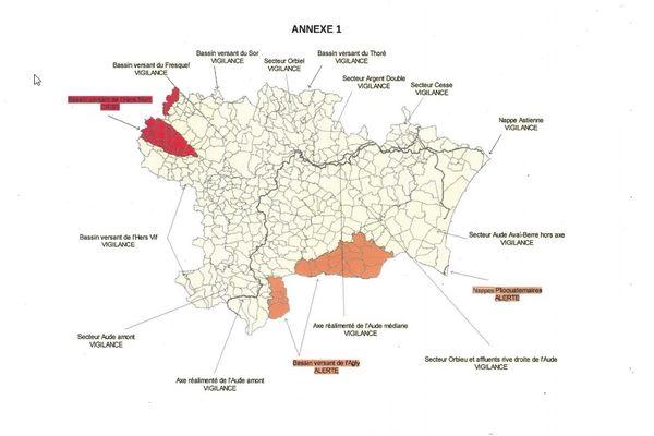 Carte des restrictions liées à la sécheresse sur le bassin de l'Aude et ses affluents juillet 2021