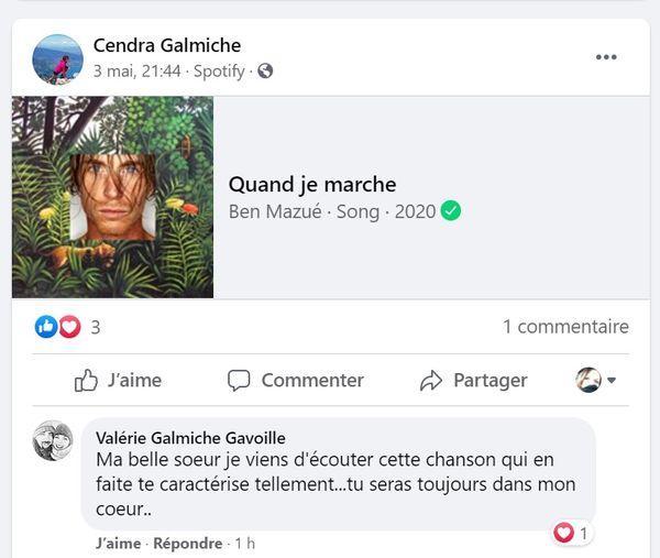 Hommage de la belle-soeur de Cendra Galmiche.