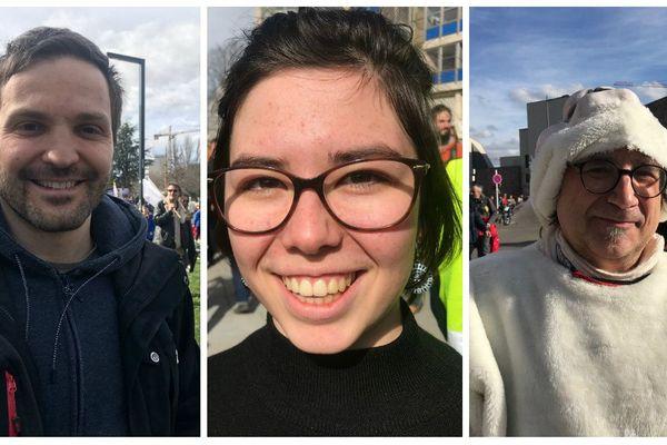 """Jean-Christophe, Margaux et Bruno, trois des quelques 5.000 manifestants présents à la Marche du siècle"""", ce samedi 16 mars"""