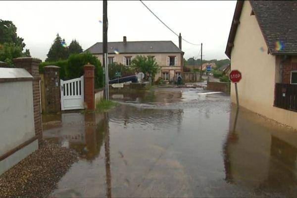 Inondations le 5 juin 2018 à Breteuil sur Iton (Eure)