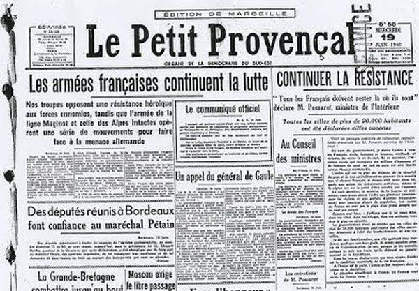 Le Petit Provençal, édition du 19 juin 1940.