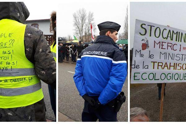150 manifestants attendaient François de Rugy et Emmanuelle Wargon à Volgelsheim ce vendredi matin.