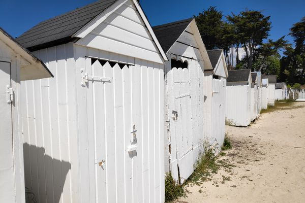 Quelques cabines de bain en bois, peintes en blanc, trônent encore sur le sable de la plage Saint-Nicolas à Port Manec'h. Il en reste une vingtaine contre une soixantaine à la Belle Epoque.