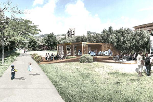 """Projection du futur kiosque et ses terrasses dont les travaux sont assurés par le cabinet bastiais """"Studio JDP Architecte"""" et une entreprise locale."""