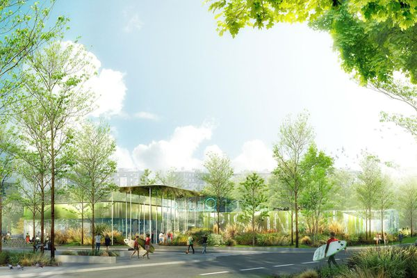Le projet retenu pour la construction du nouveau centre aqualudique, tourné vers la végétation et l'environnement.