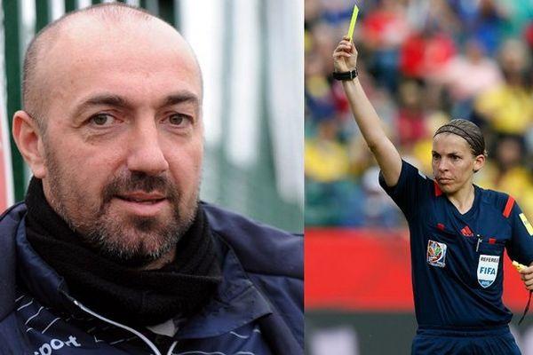 L'entraîneur de Valenciennes (Ligue2), David Le Frapper et Stéphanie Frappart, première femme dans le football professionnel.