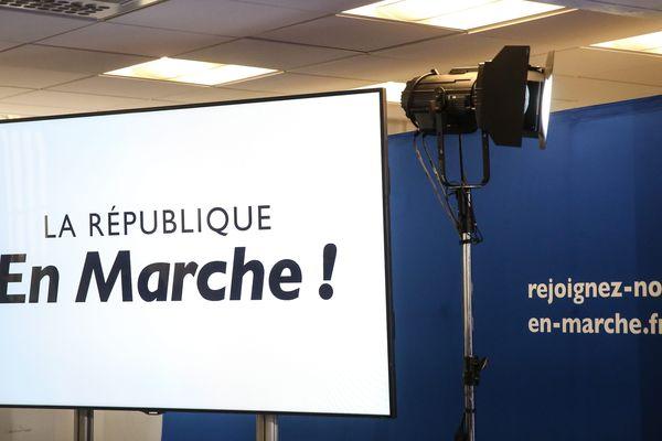 Décor de la conférence de presse, jeudi, lançant la campagne d'En Marche! pour les législatives