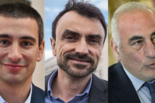Les 3 candidats à la mairie de Lyon le 28 juin 2020 : Y. Cucherat, G.Doucet et G.Képénékian