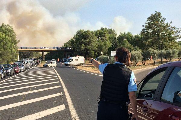 La route entre Sain-Géky-du-Fesc et Grabels est bloquée en raison de l'incendie - 6 septembre 2017