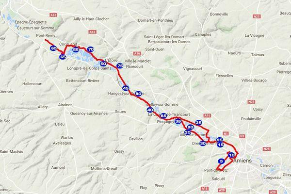 Le parcours des 100 kilomètres de la Somme