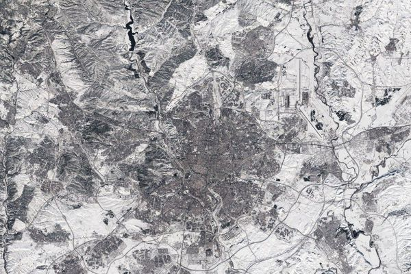 Madrid sous la neige photographié depuis l'espace par le satellite Copernicus Sentinel-2