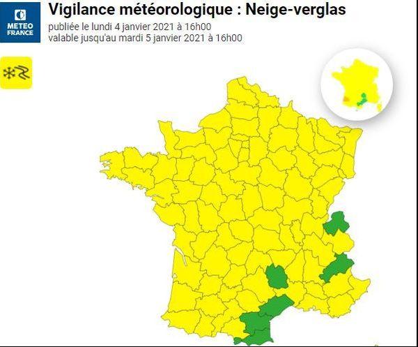 L'ensemble de la région Nouvelle-Aquitaine et la majeure partie de la France est placée en vigilance jaune pour la neige et le verglas