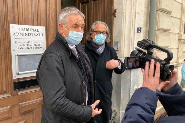 L'ancien maire d'Annecy Jean-Luc Rigaut devant le tribunal administratif de Grenoble à l'issue de l'audience lors de laquelle il a demandé l'annulation du second tour des élections municipales à Annecy.