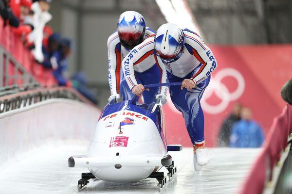 Romain Heinrich et son partenaire Dorian Hauterville en bob à deux aux JO de Pyeongchang