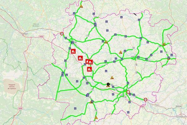 Carte des routes inondées.