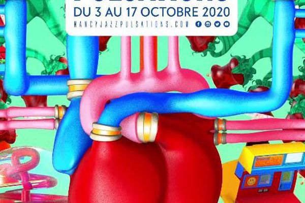 La pulsation du coeur qui bat (dans la version animée), coeur de l'affiche 2020 de la 47e édition du Nancy Jazz Pulsations.