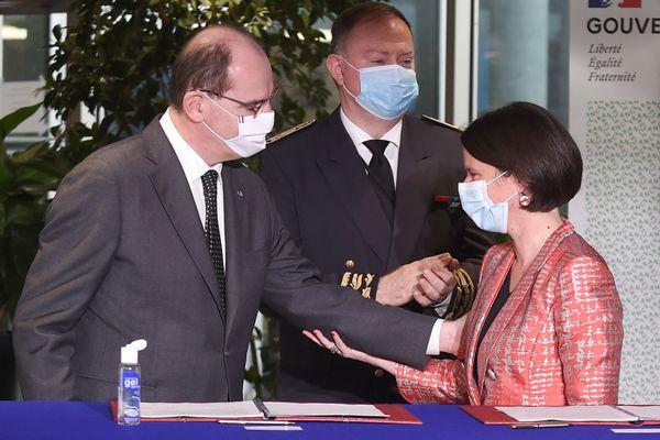 Le premier Ministre Jean Castex et la présidente de Nantes Métropole Johanna Rolland s'accordent sur un accord de méthode pour une relance économique et la transition écologique