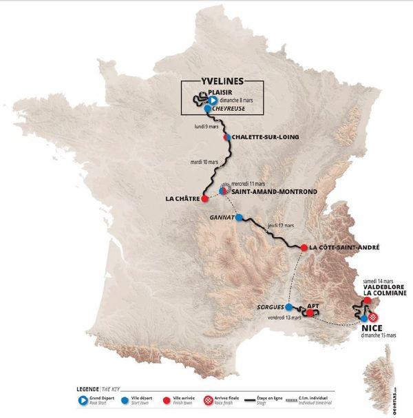 Le programme 2020 du Paris-Nice, du 8 au 15 mars.