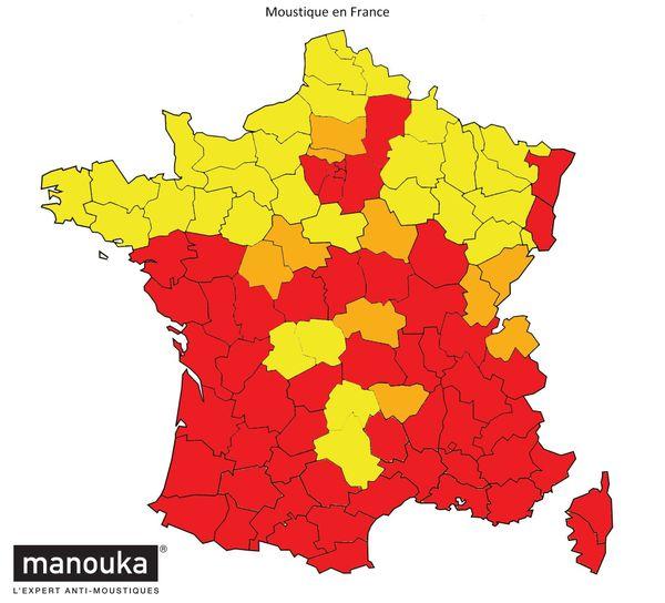 La carte de la présence du moustique-tigre en France en 2020  source : Vigilance-Moustique.com