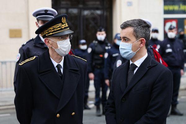 Le préfet de police de Paris Didier Lallement et le ministre de l'Intérieur, Gerald Darmanin, le 7 janvier 2021.