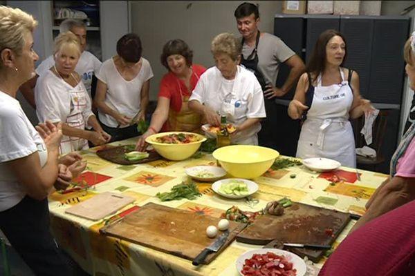 Cours de cuisien niçoise à Berre-les6alpes, le 21 juillet 2018