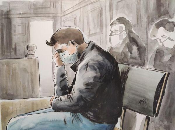 Jonathann Daval, dans le box des accusés, lors de son procès mardi 17 novembre à Vesoul.
