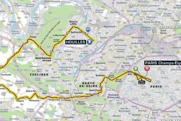 Tracé de la dernière étape du Tour de France 2018, de Houilles (Yvelines) aux Champs-Elysées à Paris.
