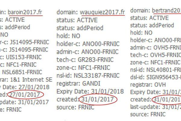 Capture d'écran d'un service de recherche de registre de noms de domaine avec les trois sites.Whois.net