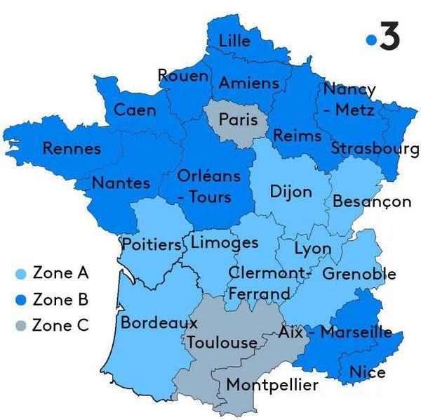 Carte zones scolaires en France