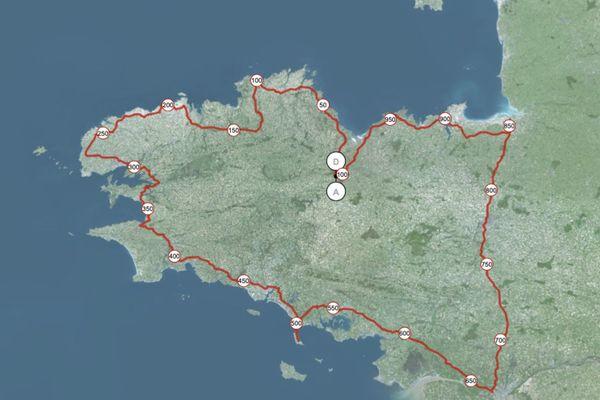 Itinéraire des lycéens: 1100 km en 9 étapes sur 10 jours avec une journée de repos à Baud