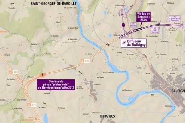 La nouvelle gare de péage de Balbigny a ouvert le 10 octobre à 6 heures, celle de Nervieux sera démontée