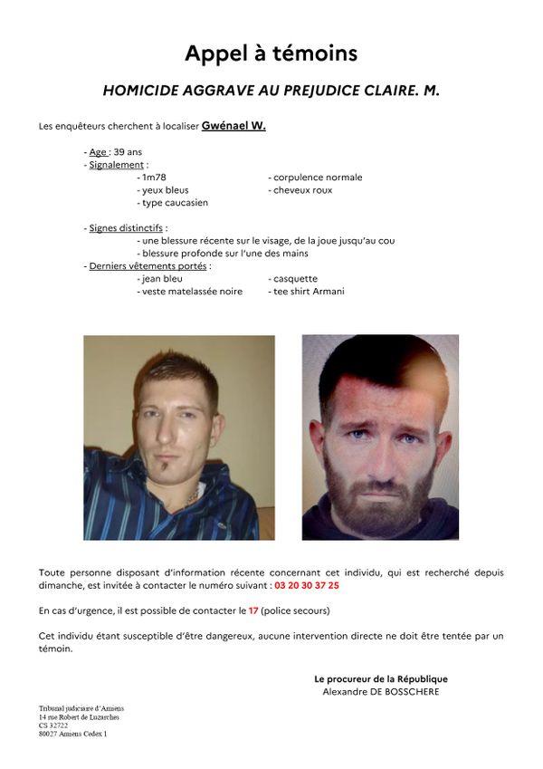 Un appel à témoins a été lancé pour retrouver le principal suspect du meurtre de Claire M. à Amiens.