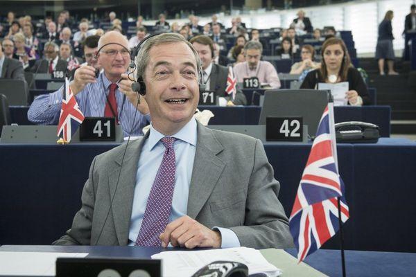 Nigel Farage, le leader du parti Ukip, au parlement européen.