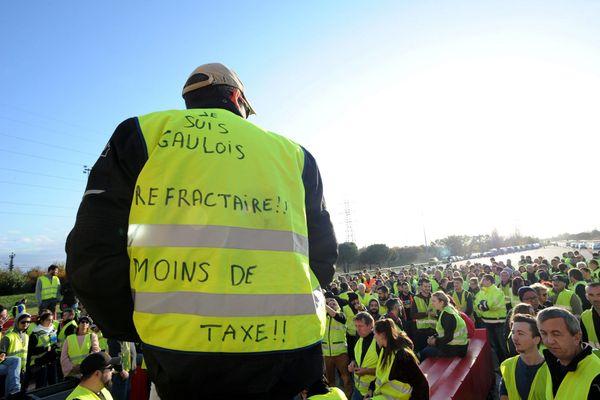 Lors de la première manifestation des gilets jaunes à Toulouse, le 17 novembre 2018ni