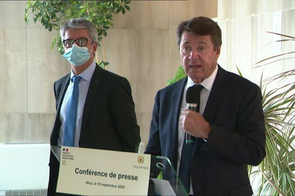 Christian Estrosi le maire de Nice et Bernard Gonzalez préfet des Alpes-Maritimes annoncent les nouvelles mesures pour Nice notamment l'interdiction des rassemblements de plus de 10 personnes dans les parcs, jardins, plages et quais de la ville.