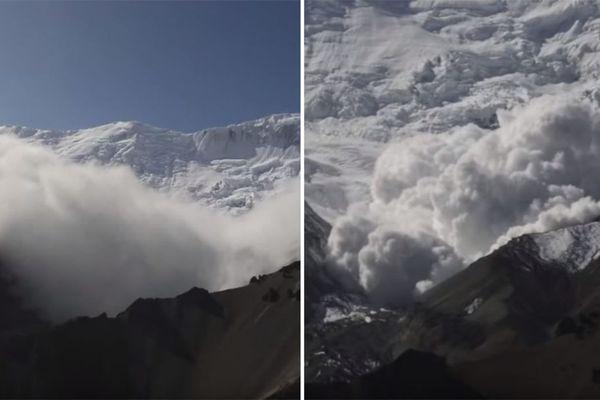 Une énorme avalanche a été filmée par un guide dans l'Himalaya.