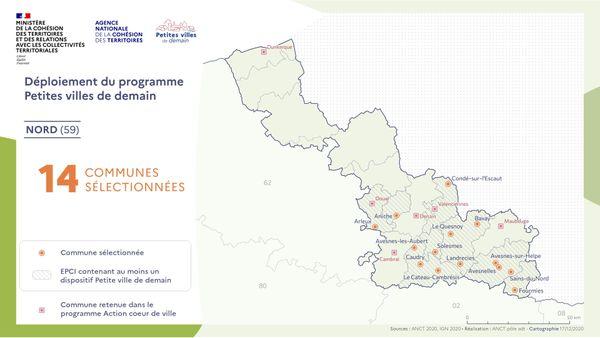"""Les communes du Nord retenues dans le cadre du programme """"Petites villes de demain"""""""