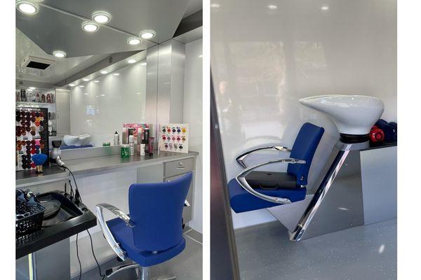 Un salon de coiffure ambulant avec eau et électricité pour tout faire, du shampoing jusqu'à la coupe et à la coloration